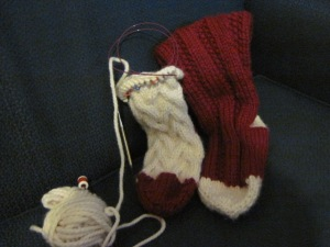 Two cottage sock slippers in red and cream